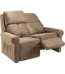 sofá 2 lugares herval fiji, reclinável, camurça animale marrom