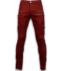 cargobroek true rise ripped jeans - slim fit biker jeans side pocket zippers -