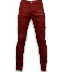 cargobroek true rise ripped jeans - slim fit biker jeans side pocket zippers -