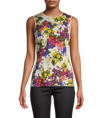 dolce & gabbana women's silk floral sleeveless top - size 36 (2)