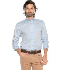 camisa azul medio preppy ml cfit unicolor bd