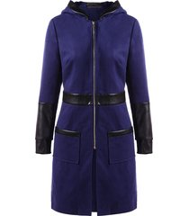 pu leather panel zipper hooded coat
