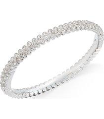 eliot danori silver-tone crystal pave bangle bracelet, created for macy's