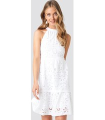 na-kd boho high neck anglaise dress - white
