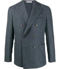 boglioli double-breasted straight-fit blazer - blue
