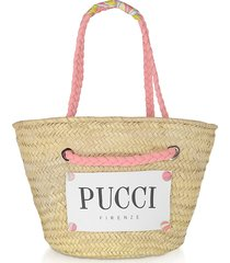 emilio pucci pink & natural straw tote bag