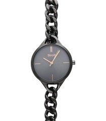 dubai orologio in acciaio dark grey con quadrante grigio e lancette rose gold per donna