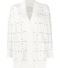 sandro paris crystal embellished cardigan - white
