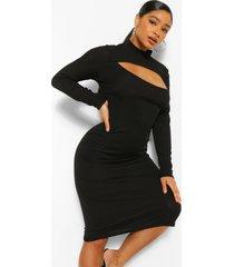 plus geribbelde midi jurk met uitsnijding, zwart