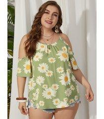 yoins plus talla hombro frío estampado floral self-tie diseño blusa