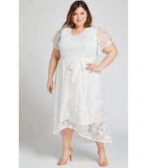 lane bryant women's textured high-low fit & flare dress 18/20 ivory