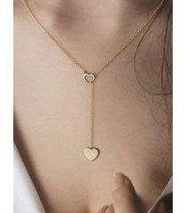 gold peach heart pendant chain necklace