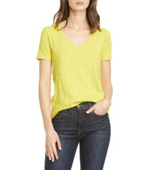 women's atm anthony thomas melillo slub v-neck tee, size large - yellow