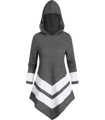 hooded contrast striped pointed hem ribbed sweater
