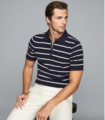 reiss andrew - striped zip neck polo shirt in navy/white, mens, size xxl