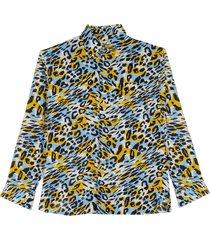 luipaard print zijden hemd