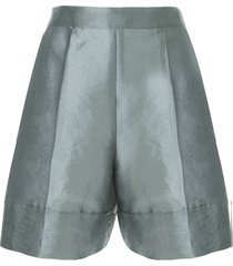 emporio armani metallic twill shorts - blue