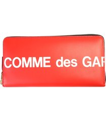 comme des garçons wallet red leather wallet