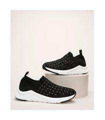 tênis meia feminino oneself knit com tachas preto