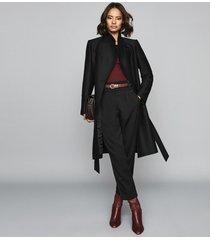 reiss deya - wool blend belted coat in black, womens, size 10