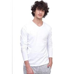 camiseta di nuevo manga longa gola v masculina - masculino