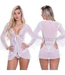 robe de renda estilo sedutor transparente em tule branco - vc3329 - branco - feminino - renda - dafiti