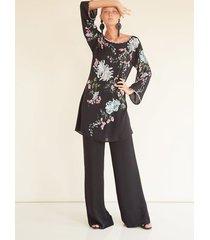couture chrystanthemum beaded top robe, women's, black, 100% silk, size s, josie natori