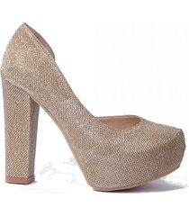 zapato dorado micheluzzi glitter