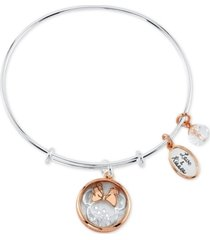 disney minnie mouse shaker bangle bracelet in two-tone stainless steel