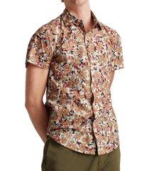 men's bonobos riviera floral print short sleeve button-up shirt, size medium - green