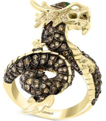 effy diamond (1-3/8 ct. t.w.) & emerald accent dragon statement ring in 14k gold