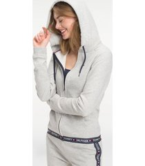 tommy hilfiger women's logo tape lounge hoodie grey heather - m