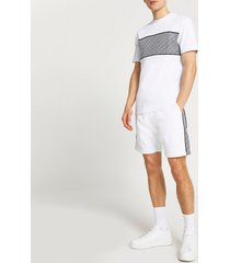 river island mens white greek print t-shirt and shorts set