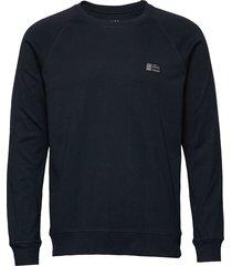 cotton rib stelt badge sweat-shirt tröja blå mads nørgaard