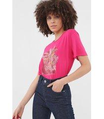 camiseta sommer estampada rosa - rosa - feminino - viscose - dafiti