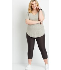 maurices plus size womens high rise gray ultra soft capri leggings