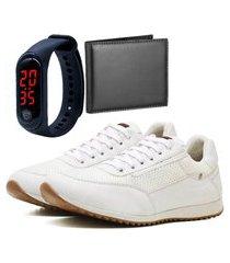 sapatênis casual com carteira e relógio led fine dubuy 1100la branco