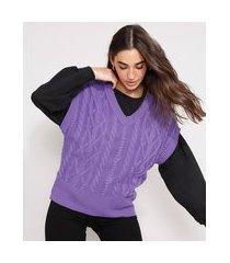 colete amplo de tricô texturizado trança decote v roxo