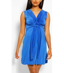 maternity knot front mini dress, royal