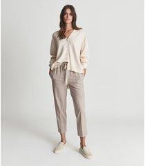 reiss addison - wool blend cardigan in oatmeal, womens, size 14