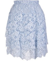 ermanno scervino short skirt with flounces in light blue lace