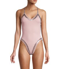 embellished cutout one-piece swimsuit