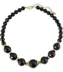 "2028 gold-tone black beaded strandge 16"" adjustable necklace"