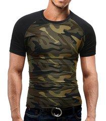 hombres summer casual cotton soft camo color block t-shirt