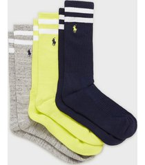 polo ralph lauren beach socks 3-pack strumpor multi