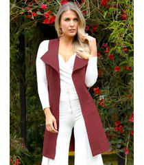 chaleco largo outfit 3101 para mujer café