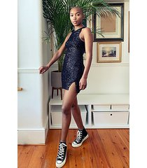 black racer sequin mini dress - black