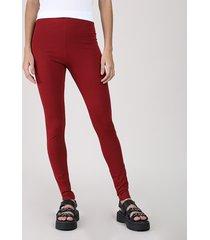 calça legging feminina básica cintura alta vermelha escuro