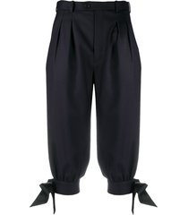 maison margiela tie-cuff cropped trousers - blue