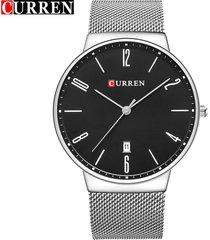 curren / 8257 reloj de pulsera de malla de acero ultrafino-
